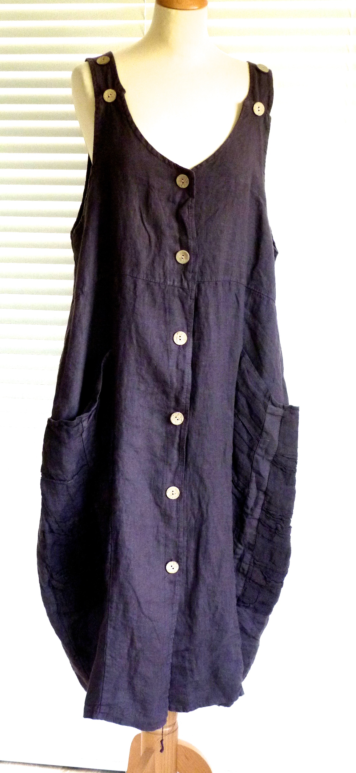Ladies lagenlook quirky linen pinafore dress with pockets ...