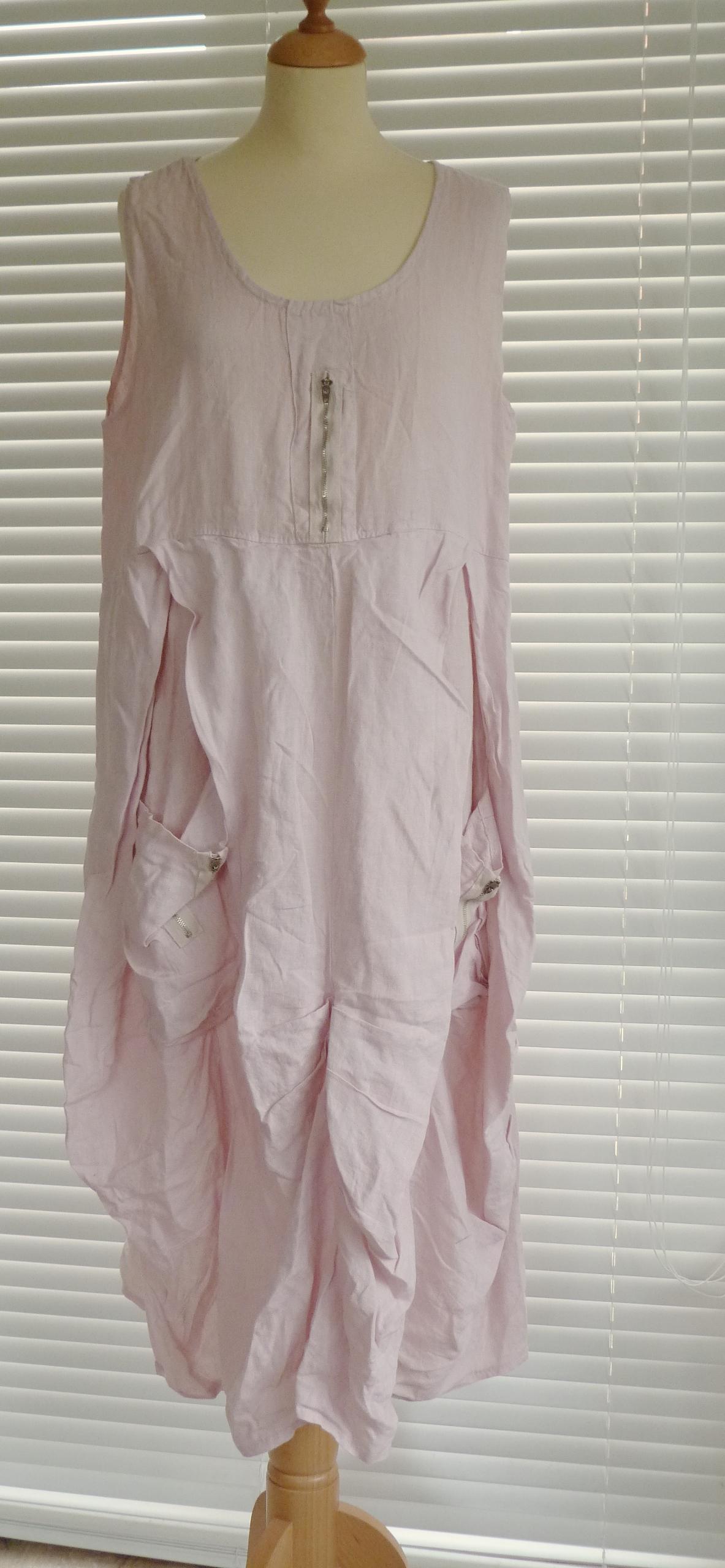 Ladies Lagenlook Quirky Linen Dress With Zip Detail
