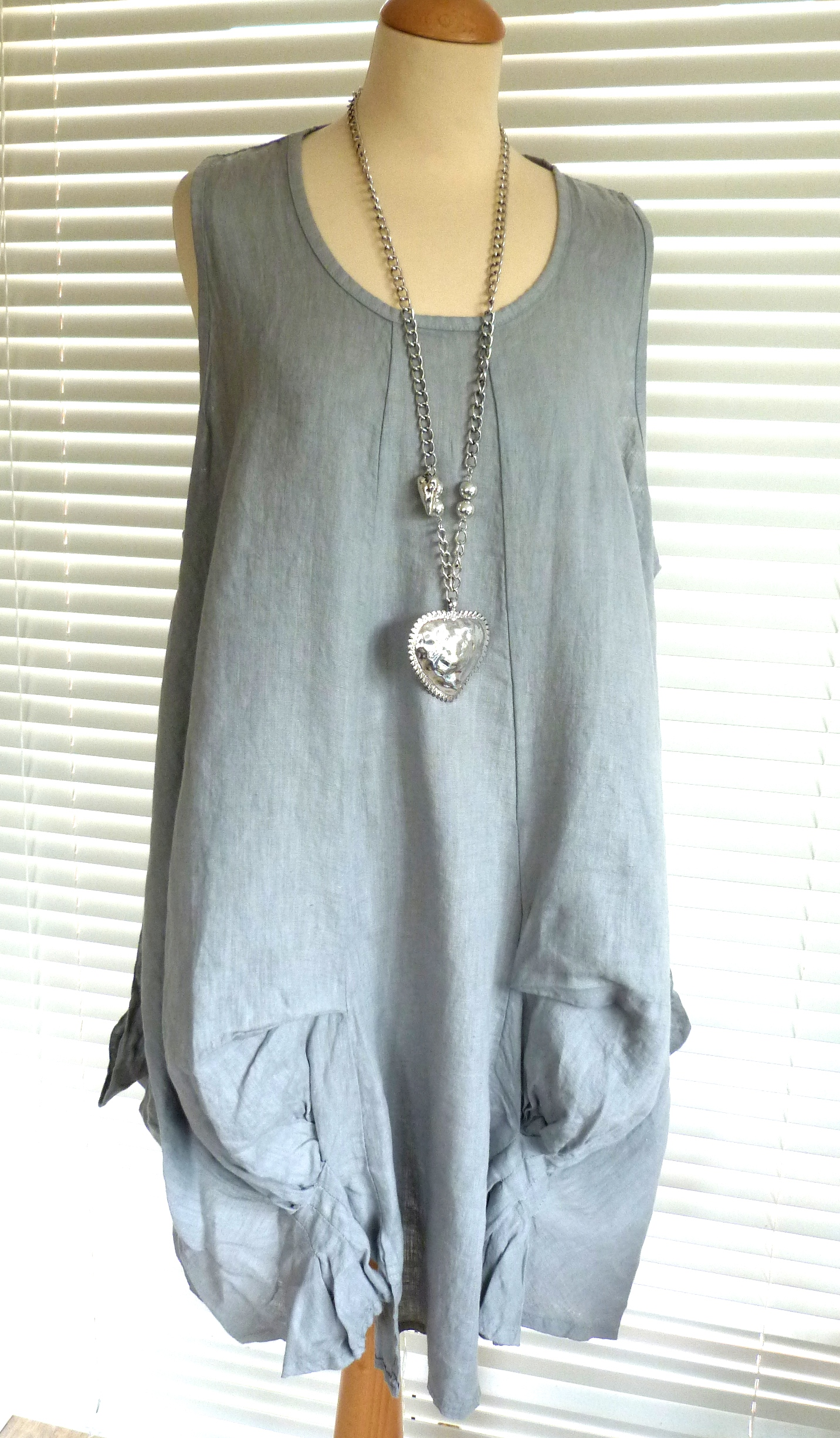 Gorgeous Italian Linen Lagenlook Tunic Dress With Quirky