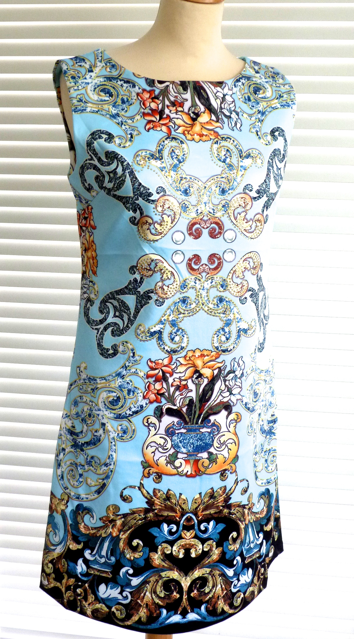 Stunning designer inspired diamante embellished print dress Replica designer clothes uk