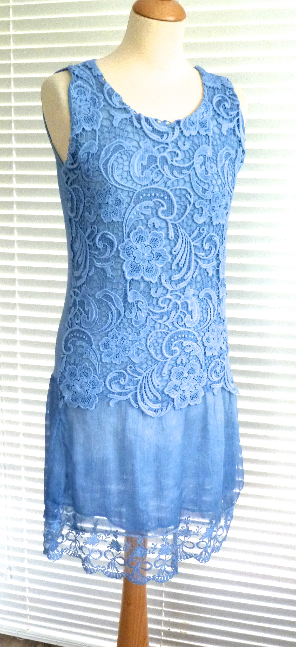 Gorgeous Italian Lagenlook Lace And Silk Dress Neeta Ebay