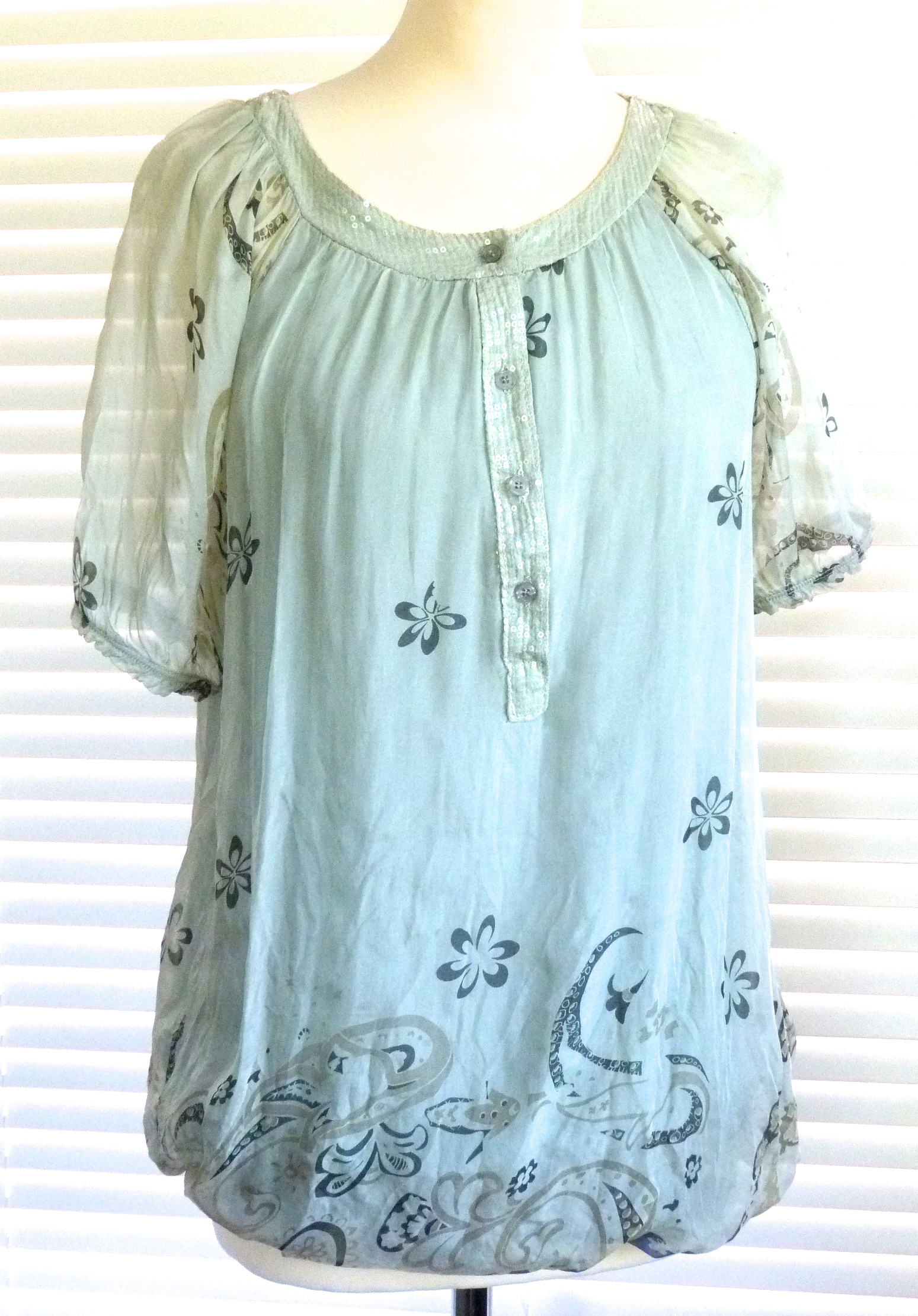 Beautiful Italian Silk Short Sleeved Top With Sequin Trim