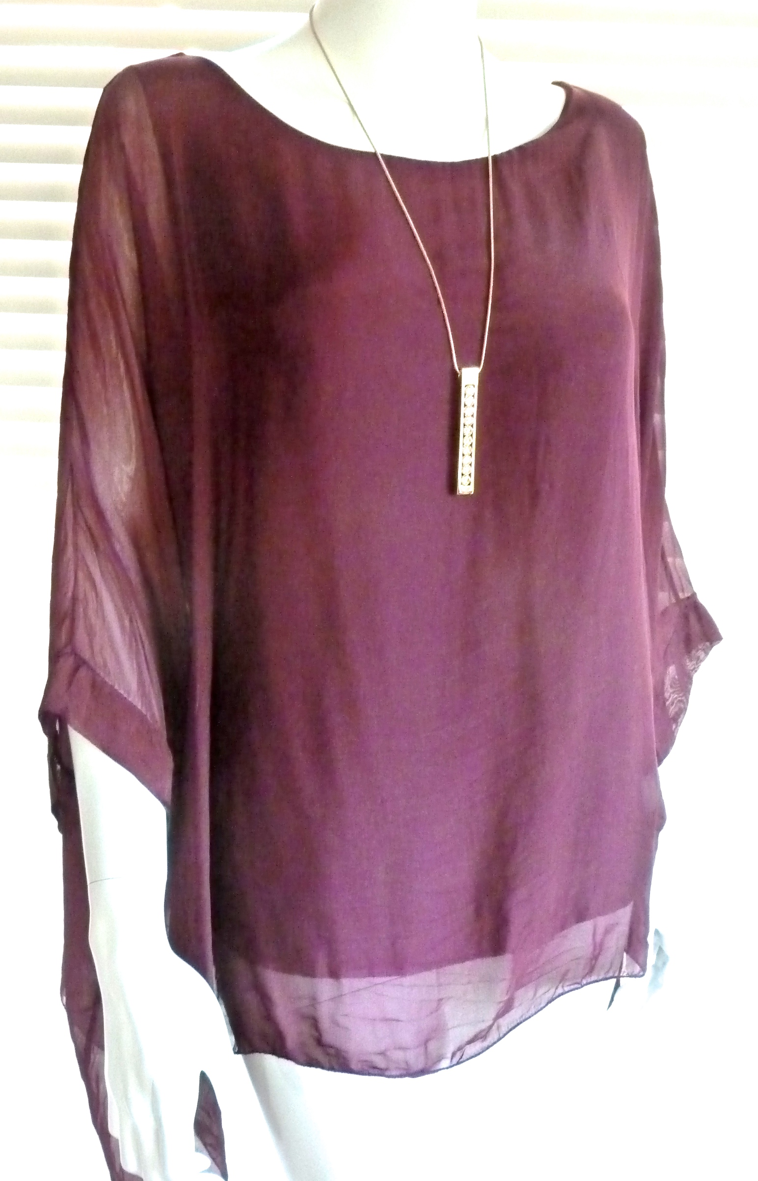 7ba1fcc2fcdbb Classic Italian silk floaty top with sleeve - Julia (now with new colours)  - BoutiqueJ2S