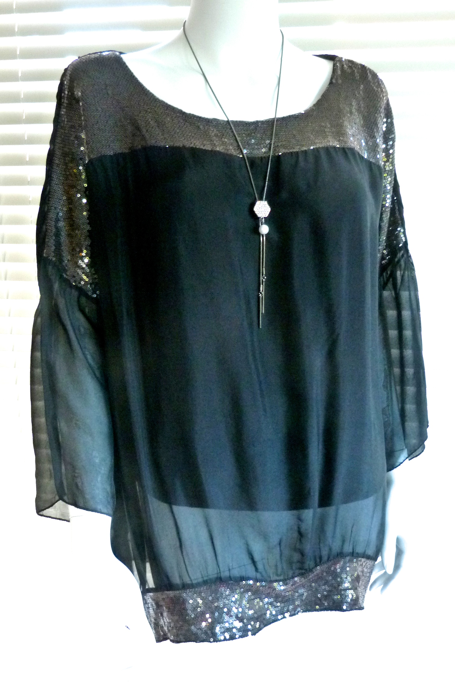 Fab Italian Silk Floaty Top With Sequins Corrine Ebay