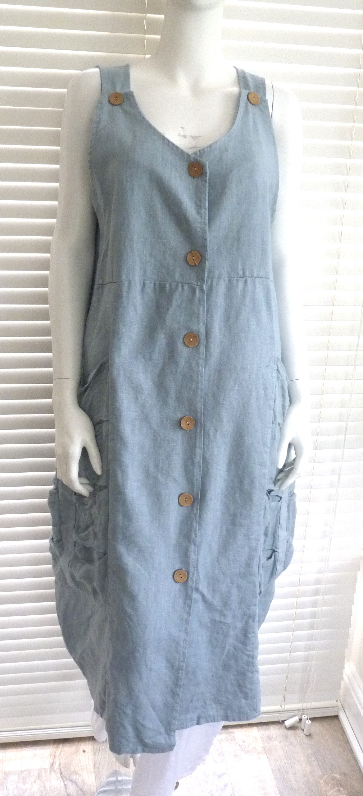 Ladies Lagenlook Quirky Linen Pinafore Dress With Pockets