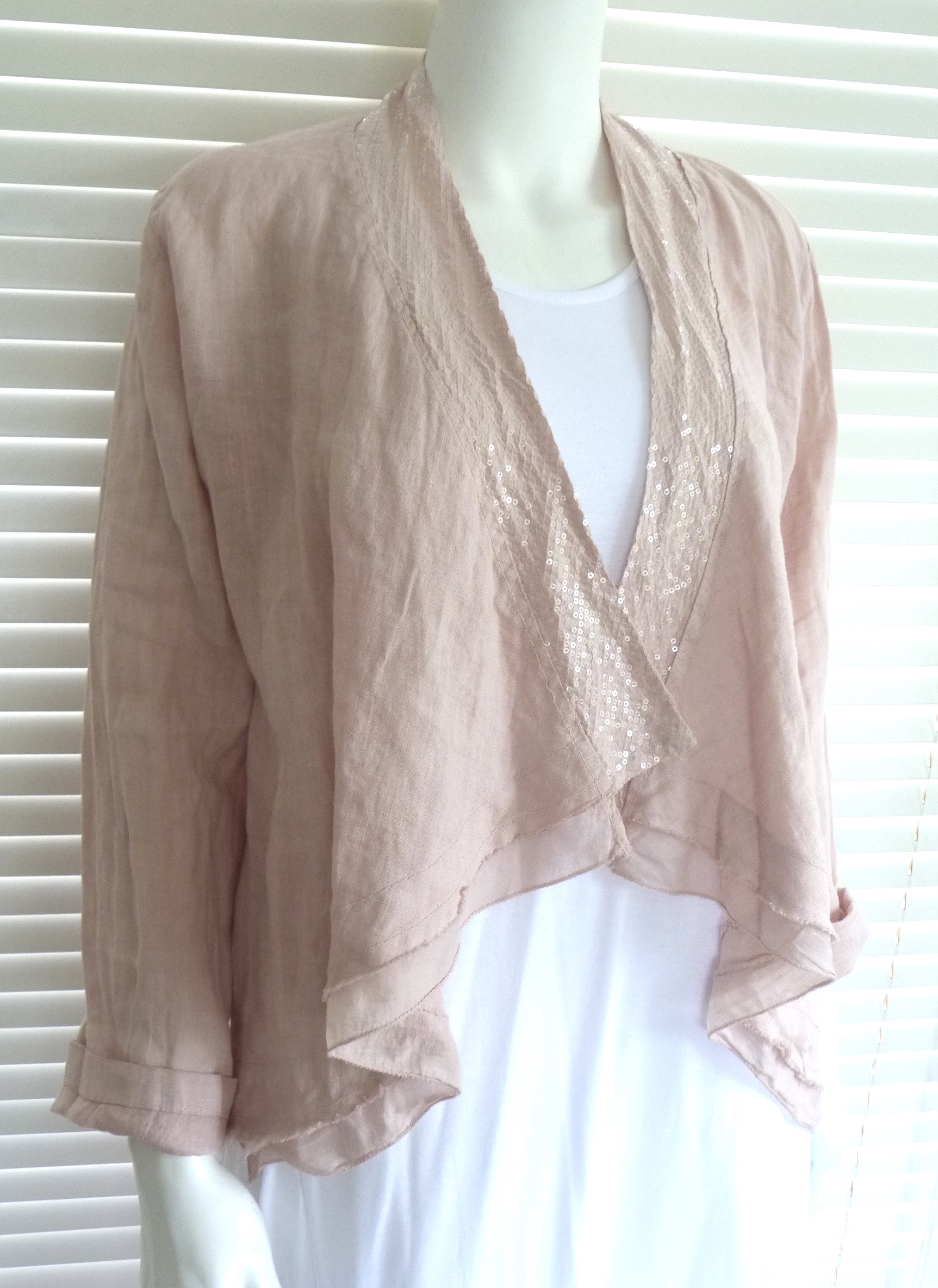 Fabulous Italian Linen Waterfall Style Jacket With Sequin Trim Sophie Boutiquej2s