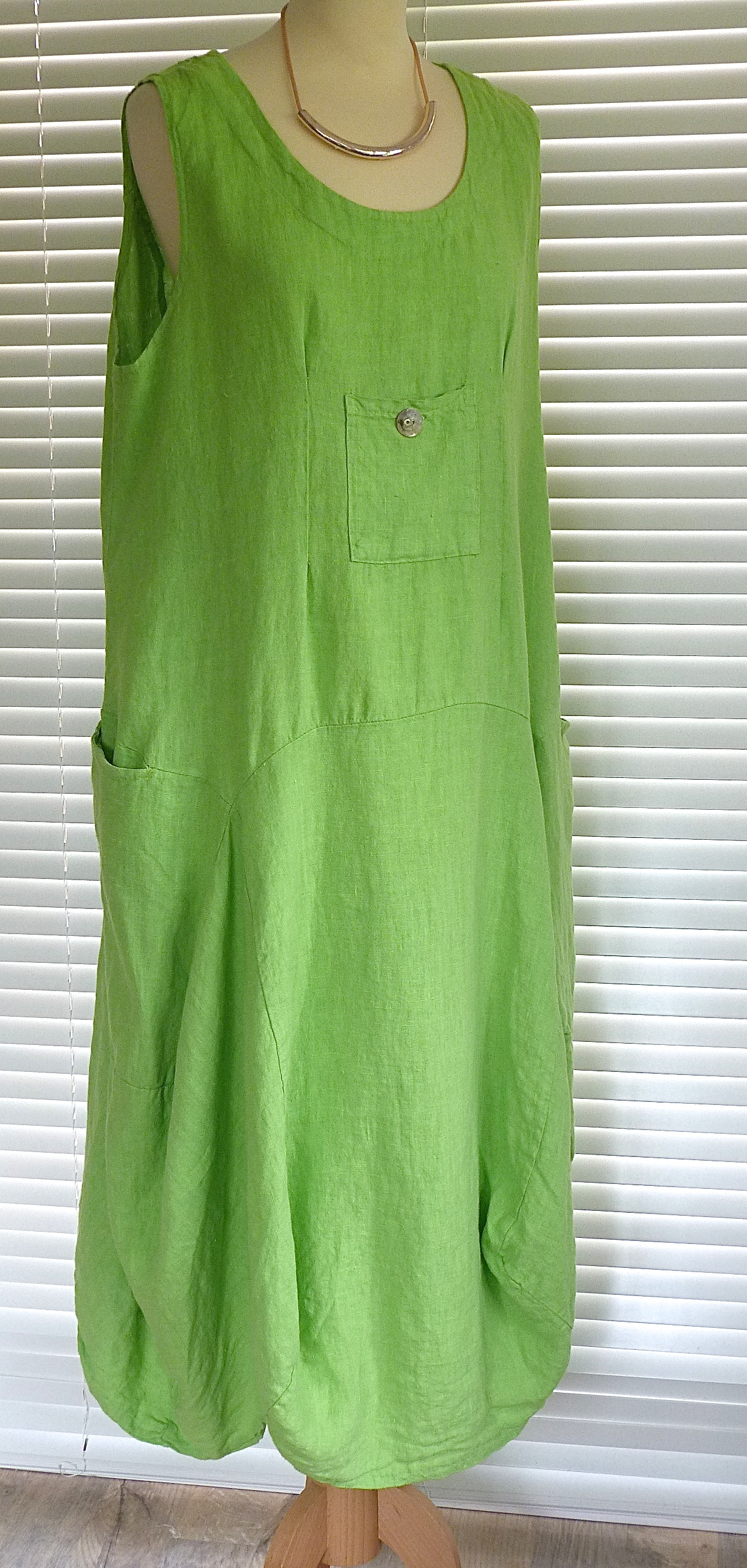 1fa4edcee9 Sarah Santos long lagenlook quirky mid weight linen dress with pocket (  Regular and plus sizes)