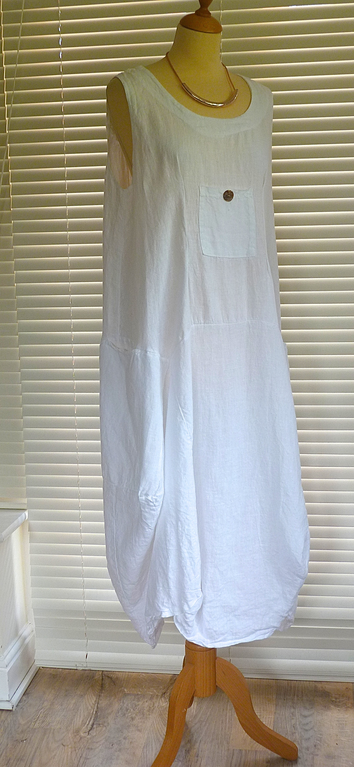 3b48a0f18f Sarah Santos long lagenlook quirky mid weight linen dress with pocket ...