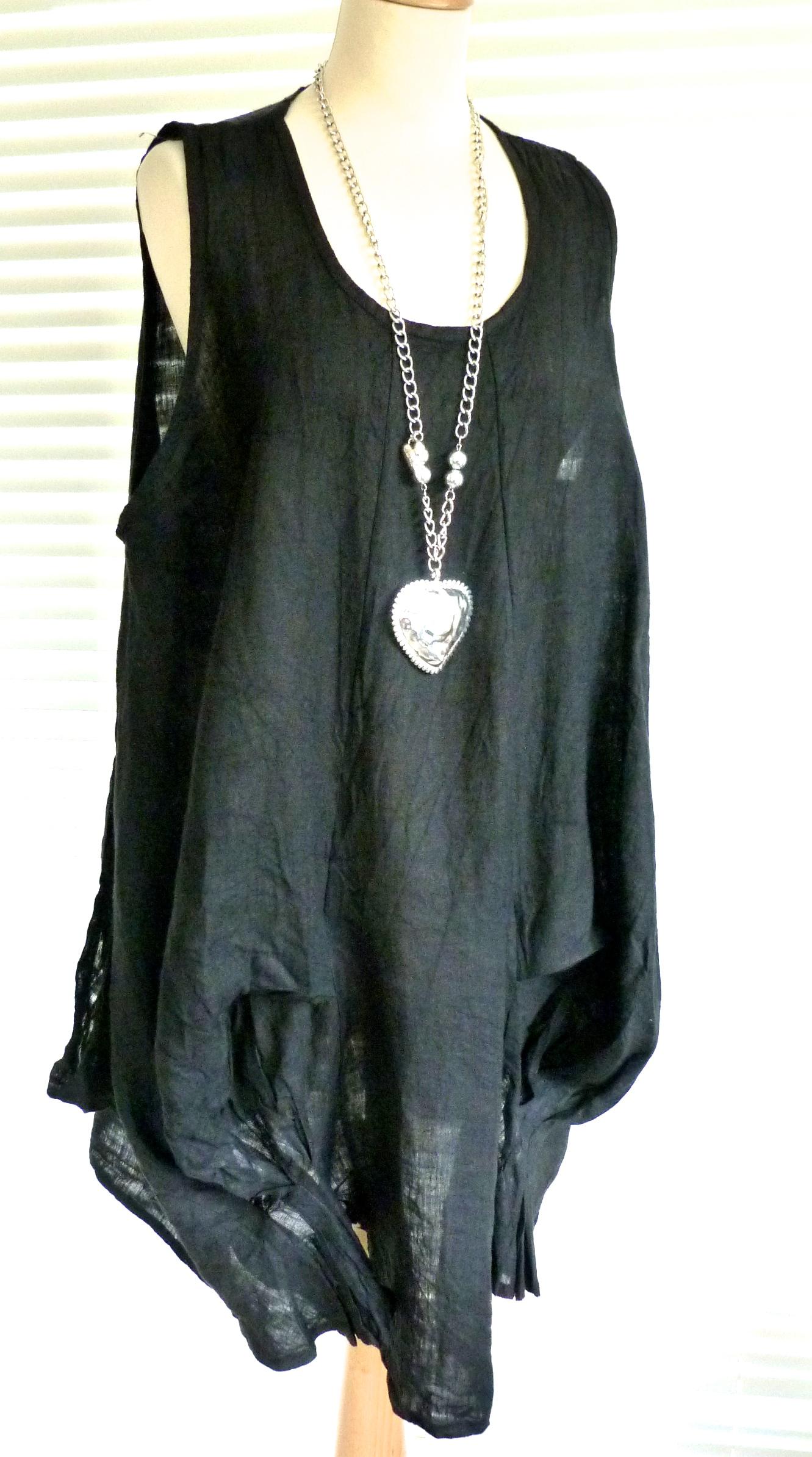 2196a8c512d Gorgeous Italian linen lagenlook tunic dress with quirky hemline - Janie