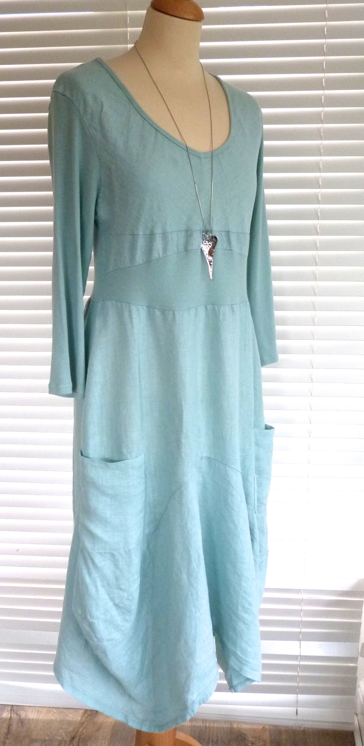 Fab Italian linen and jersey longer length dress with sleeves Molly