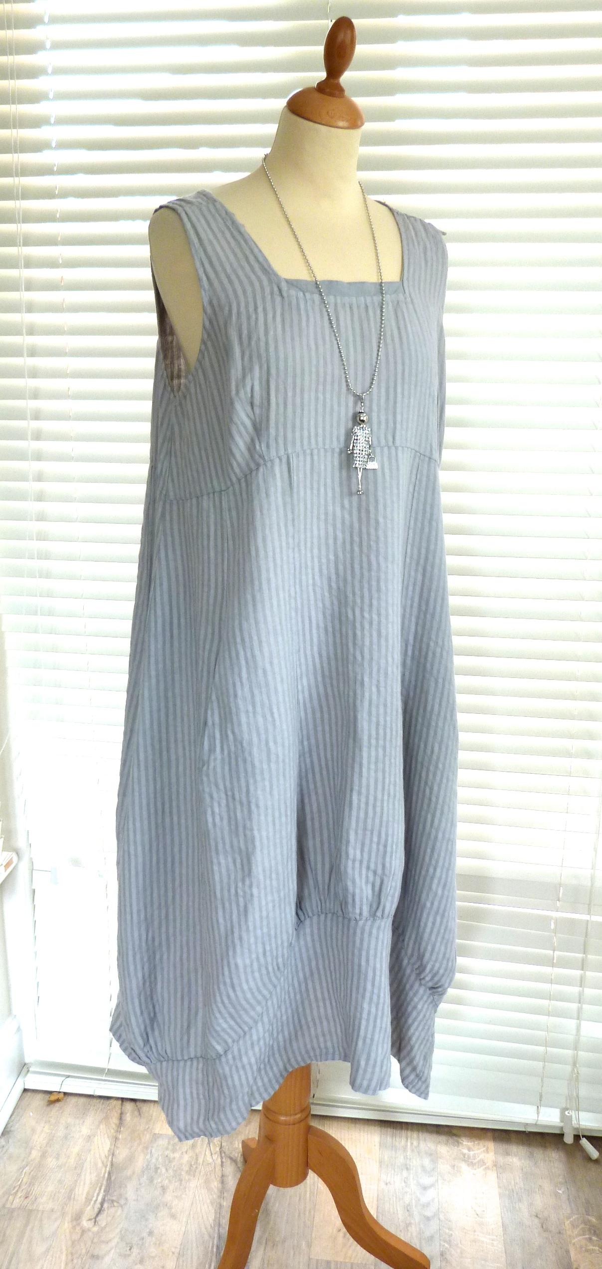 Fab Italian Linen Longer Length Dress With Stripes