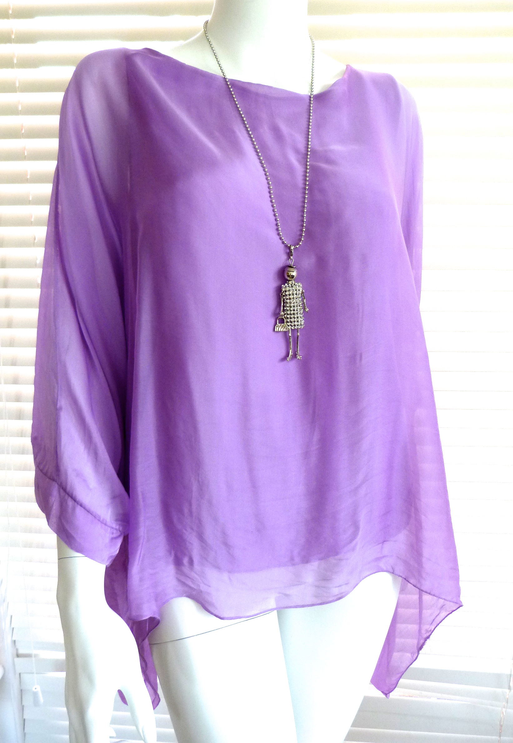 48ded7c9ce770 Classic Italian silk floaty top with sleeve - Julia (now with new colours)