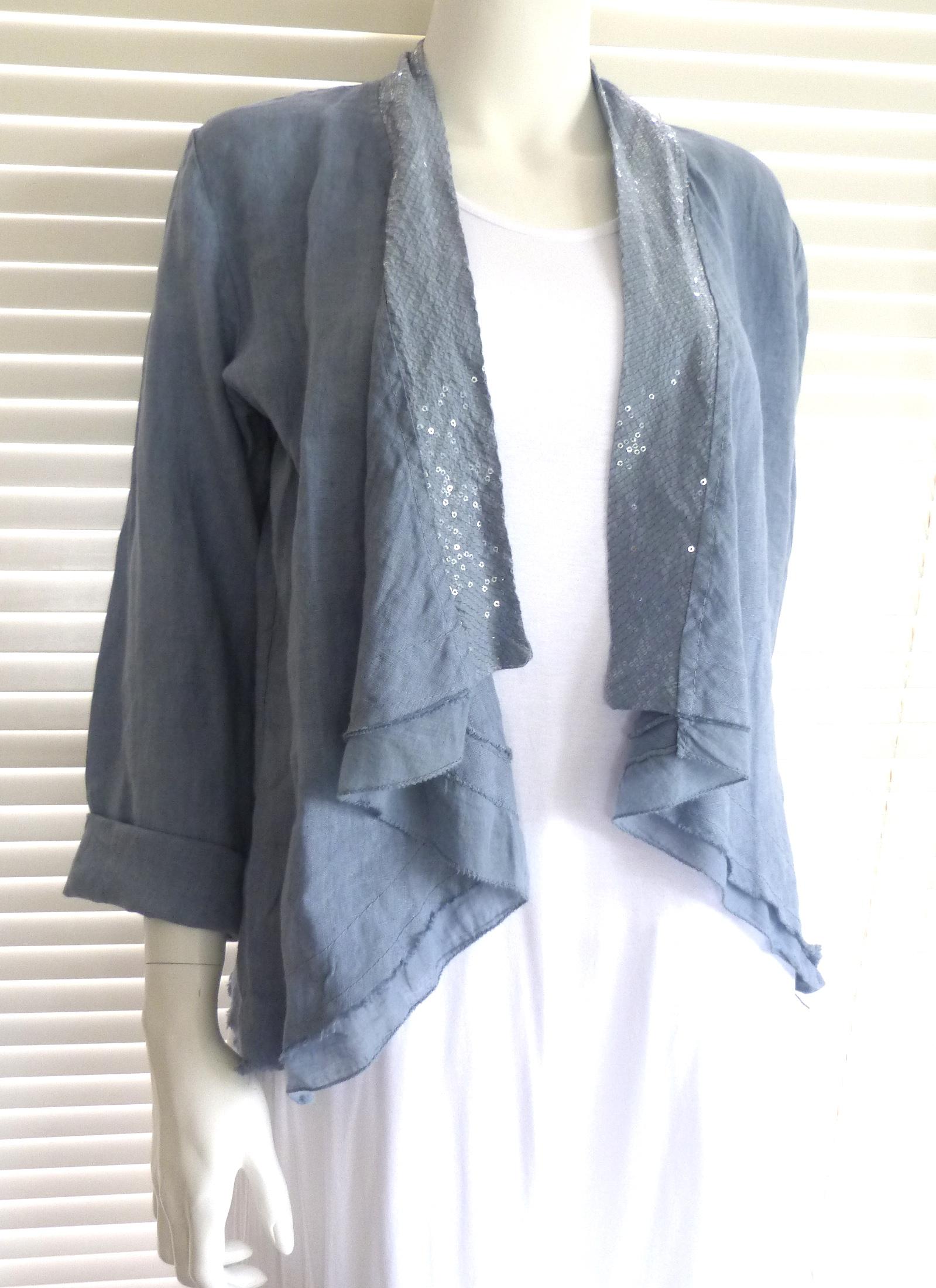 Fabulous Italian Linen Waterfall Style Jacket With Sequin