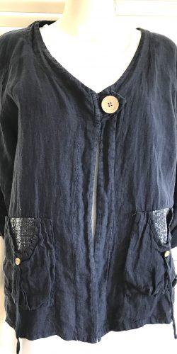 8565f1c5747 Stunning Plus Size Italian lagenlook linen Jacket with sequin trim –  Marianne